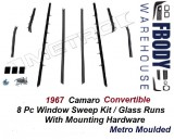 1967 Camaro Window Sweeps Glass Runs 8 Piece Set Metro Moulded
