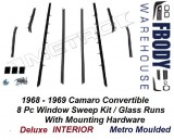 1968 - 1969 Camaro Window Sweeps Glass Runs 8 Piece Set Metro Moulded
