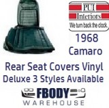 1968 Camaro DELUXE Vinyl Rear Seat Covers 3 Styles Available