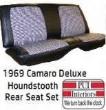 1969 Camaro Rear Seat Covers Deluxe Houndstooth Set