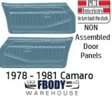 1978 - 1981 Camaro NON Assembled Door Panels Standard Various Colors Available!