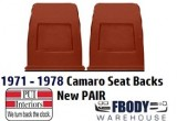 1971 - 1978  Camaro Seat Back Plastic Trim NEW